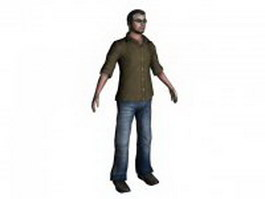 Leisure man standing T-pose 3d model