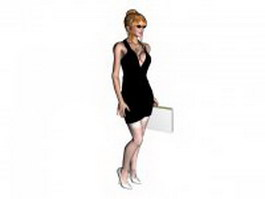 Young blonde in low V party dress 3d model