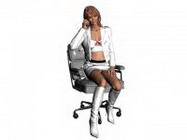 Sexy business woman sitting and talking phone 3d model