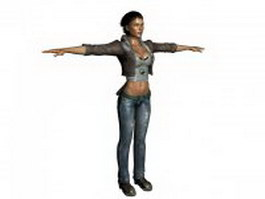 Tough woman cop standing T-pose 3d model