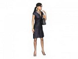 Pretty lady standing with handbag 3d model