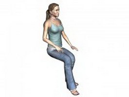 Woman in jeans and spaghetti top 3d model