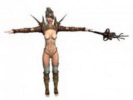 CG sexy girl in armor 3d model