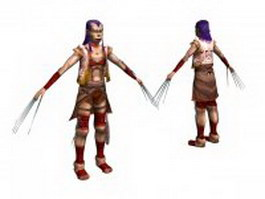Barbarian warrior character 3d model