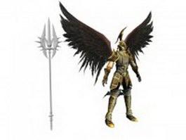 Dark archangel warrior with weapon 3d model