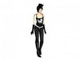 Cool girl in black spaghetti top 3d model
