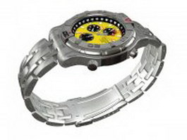 Racer chronograph mens watch 3d model