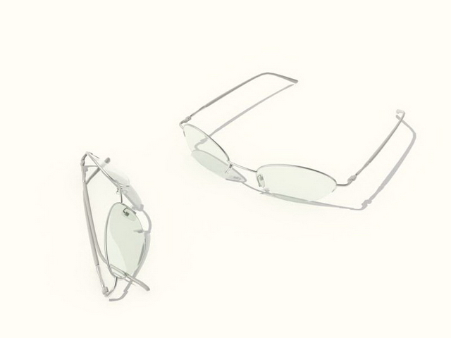 Semi rimless eyeglasses 3d rendering