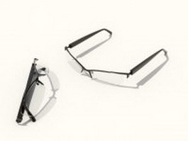 Half rim reading glasses 3d model