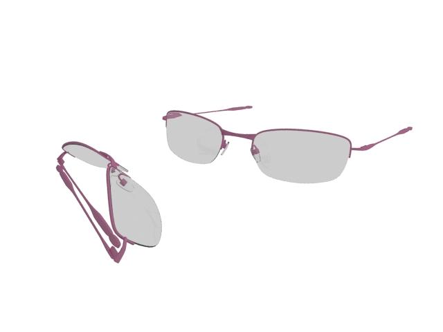 Half-Rim pink sunglasses 3d rendering