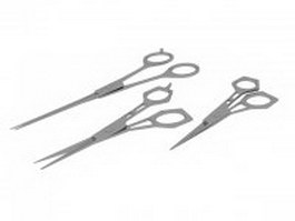 Hair cutting & thinning scissors set 3d model