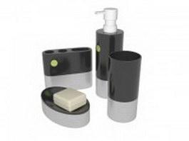 White black bathroom sets 3d model