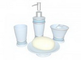 Blue bath accessory collection 3d model
