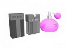 Perfume bottle and boxes 3d model