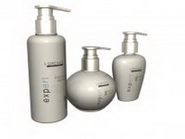 Three bottle of hair conditioner 3d model