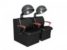 Two seat hair steamer chair 3d model