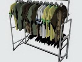 Shirt rack with T-shirt 3d model