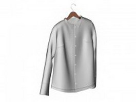 White dress shirt on hanger 3d preview