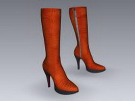 Calf high leather boots 3d model