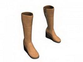 Tall riding boots for women 3d model