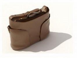 Brown leather handbag for women 3d model