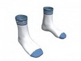 Crew socks in white 3d model