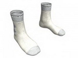 Men's white socks 3d model
