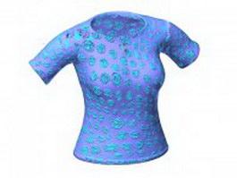 Short sleeve henley shirt for women 3d model