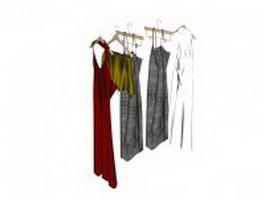 Dresses on the hanger 3d model