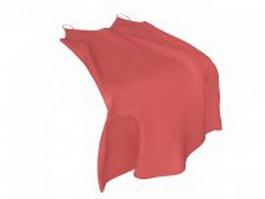 Red slip-dress 3d model