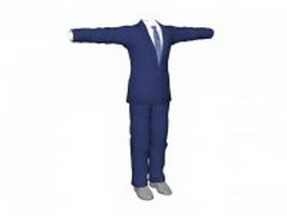Blue business suits for men 3d model