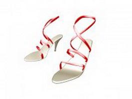 Sandals for women with heels 3d model