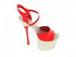 Platform sandals heels 3d model