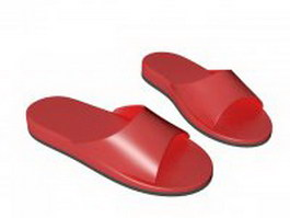 Red slides shoes 3d model