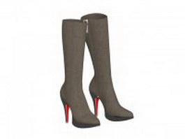 Calf boots for women 3d model
