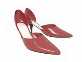 Red ballroom shoes for women 3d model