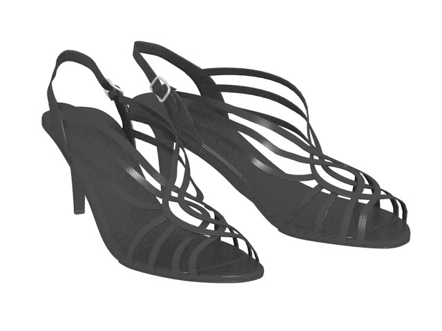 Black sandals with straps 3d rendering