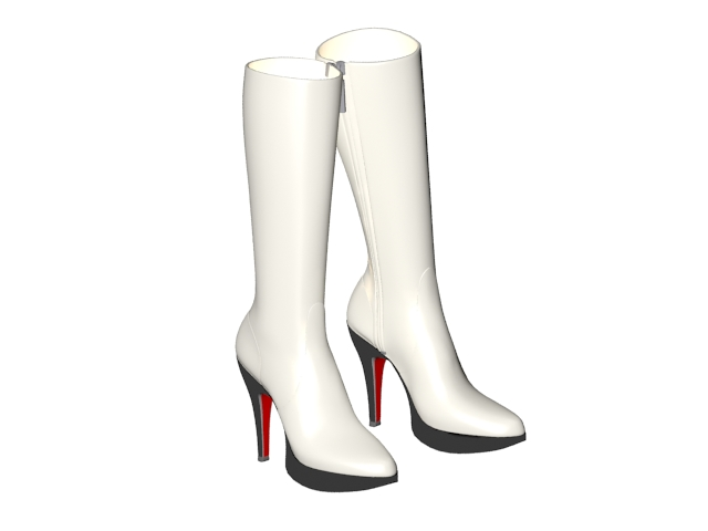 Winter white leather boots 3d model 3ds max files free download ...