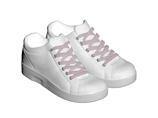 White tennis shoes 3d model 3ds max files free download modeling.
