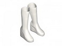 White knee high boots for women 3d model