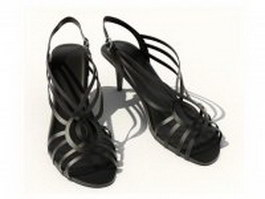Women's black sandals 3d model