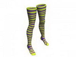 Striped Nylon stockings 3d model