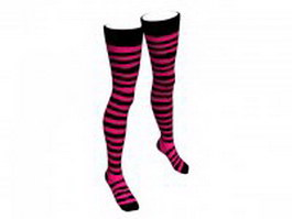Pink striped stockings 3d model