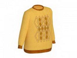Knitting sweater for men 3d model