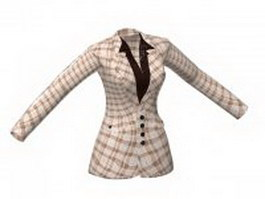 Casual suit jacket with shirt for women 3d model