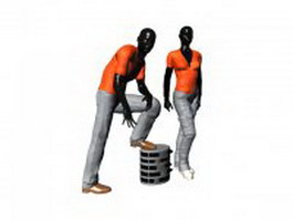 Store mannequin display with casual clothes 3d model