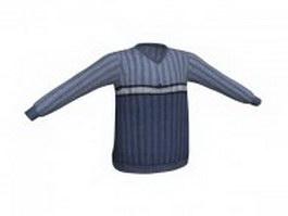 Dark blue pullover sweater 3d model