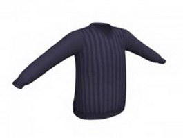 Navy blue sweater for men 3d model