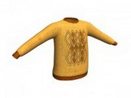 Knitting pattern sweater for men 3d model