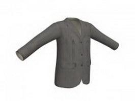 Grey suit jacket for men 3d model